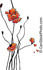 Stylized poppy - Vector card with stylized poppies