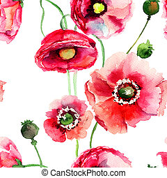 Stylized Poppy flowers illustration, seamless wallpaper