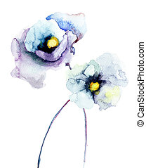 Stylized Poppy flowers, Watercolor painting