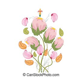 Stylized Poppy flowers, watercolor