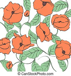 Stylized Poppy illustration - Stylized Poppy flowers...