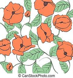 Stylized Poppy illustration - Stylized Poppy flowers...