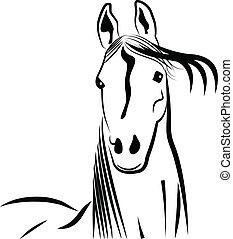 stylized, portræt, hest, anføreren, logo