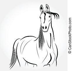 stylized, portræt, hest, logo