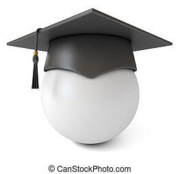 Stylized portrait of a graduate in the Graduation cap. Icon....