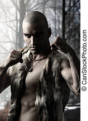 Stylized portrait of a tribal warrior with shaved head
