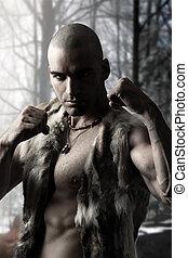 Stylized portrait of a tribal warri