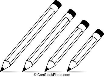 stylized, potloden, school, vector