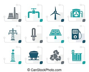 Stylized Power and electricity industry icons
