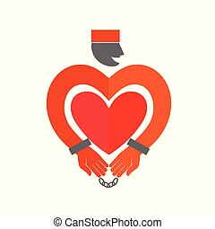 Stylized Prisoner with  heart icon. Online Dating. Flat style vector illustration on white background. American prisoner in orange uniform