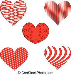 Stylized Red and White Heart Patterns