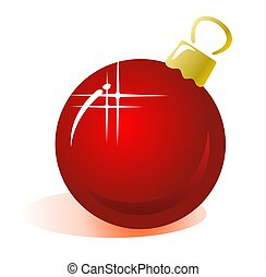 Stylized red christmas ball on a white background. Digital illustration.