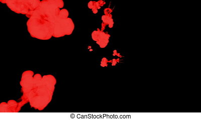stylized red ink drop in water on a black background for effects. 3d render. voxel graphics. computer simulation 36