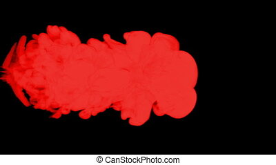 stylized red ink drop in water on a black background. 3d render. voxel graphics. computer simulation of smoke 2