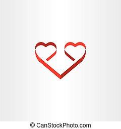 stylized red ribbon heart shape love symbol