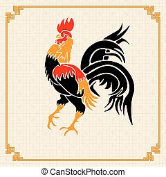 Stylized red rooster on the background of the ornament in the Chinese style. Year fire rooster. illustration
