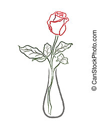 Stylized red rose in a vase isolated on white background,...