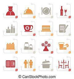 Stylized Restaurant, cafe and bar icons