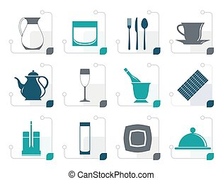 Stylized restaurant, cafe, bar and night club icons