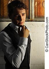 stylized, retrato, de, um, homem jovem