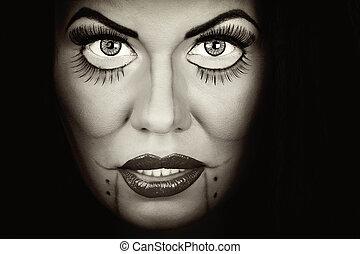 closeup portrait of woman face
