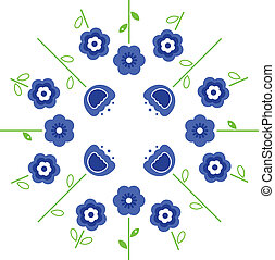Stylized retro vector flowers in circle ( blue )