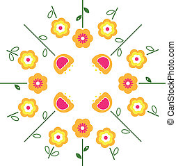 Stylized retro vector flowers in circle ( yellow )