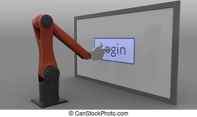 Stylized robot arm pushing Login button. Automated social...