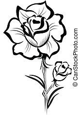 stylized, rose, den agterste roer, sort, logo