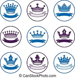 Stylized royal 3d vector design elements, set of king...