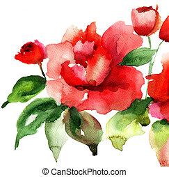 stylized, rozen, bloemen, illustratie