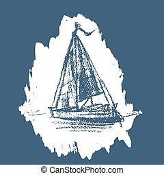 Stylized sailboat floats on the water
