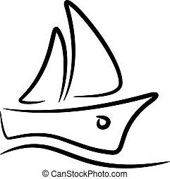 stylized, sailboat, símbolo, vetorial