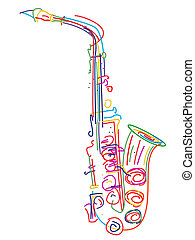 Stylized saxophone - Illustration of a saxophone over white