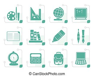 Stylized School and education icons