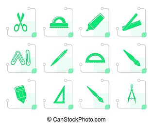 Stylized school and office tools icons