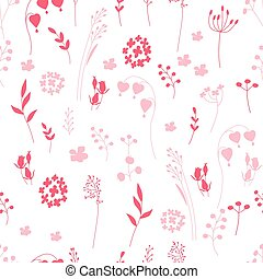 Stylized seamless pattern with contour  flowers
