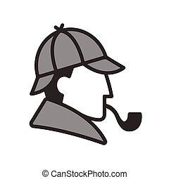 Sherlock Holmes profile logo - Stylized Sherlock Holmes...
