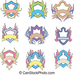Stylized shields with motto ribbons. Templates. Set of vector illustrations.