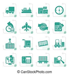 Stylized shipping and logistics icons