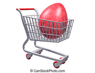 Stylized shopping cart with Giant Egg