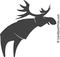 Stylized silhouette moose logo vector emblem illustration