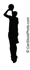 Stylized Silhouette of a basketball player jump shot on white background