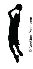 Stylized Silhouette of a basketball player shot on white background