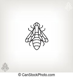 Stylized silhouette of a bee on light background