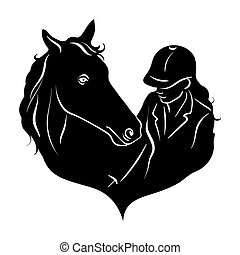 Stylized silhouette of a horse with a beautiful hairdo and a...