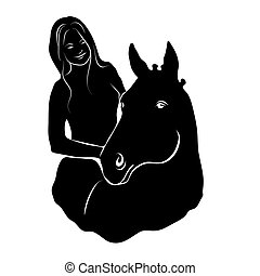Stylized silhouette of a horse with a beautiful hairdo and a girl rider.