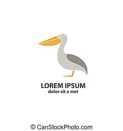 Stylized silhouette of a Pelican. Vector illustration.
