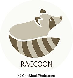 Stylized silhouette of a raccoon on light background