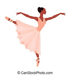 Stylized silhouette of ballerina in dress on white background